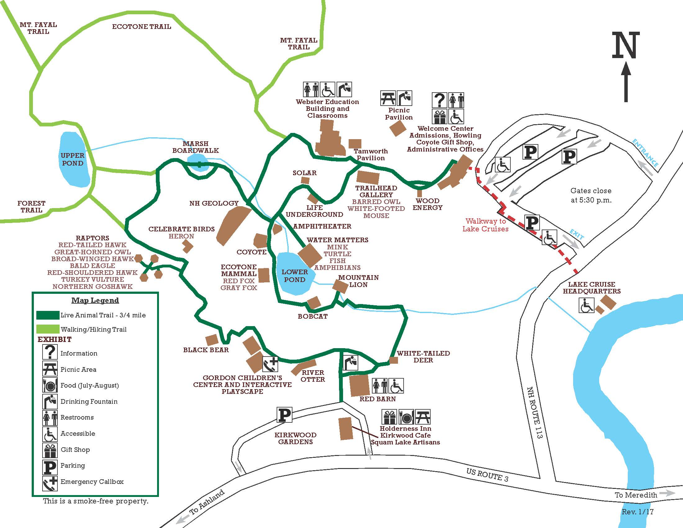 Animal exhibits and trails squam lakes natural science center click map for larger version gumiabroncs Image collections