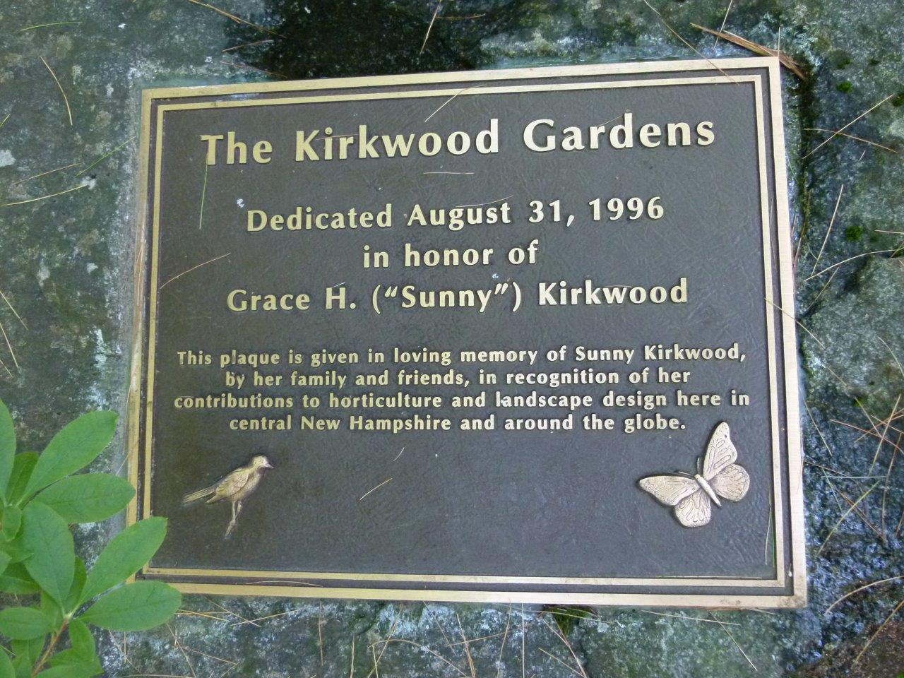 Kirkwood Gardens Dedication Plaque