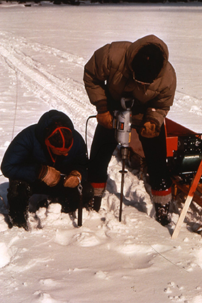 Drilling through ice for soundings