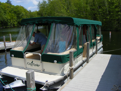 Pontoon boat available for private charters.