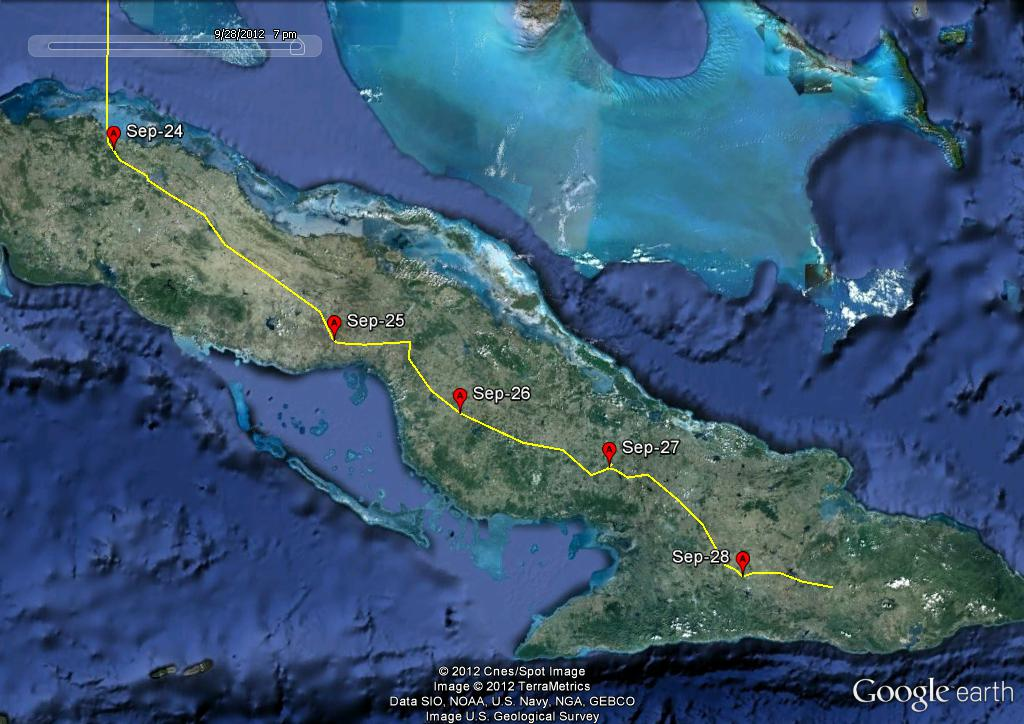 Art's route and roost sites in Cuba