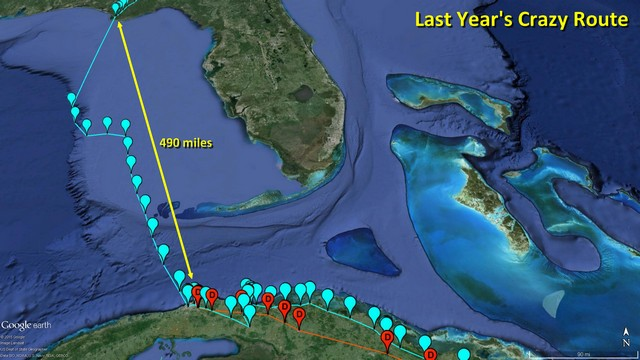 Donovan - March 18, 2015 comparison to 2014 flight over the Gulf of Mexico